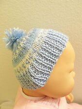 KNITTED HANDMADE INFANT BLUE&WHITE BABY STOCKING HAT & BLUE POM-POM