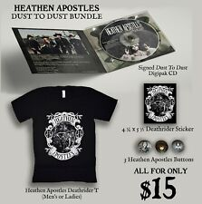 """HEATHEN APOSTLES """"Dust To Dust"""" Signed CD T SHIRT Buttons Sticker w/ The Cramps"""