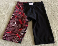Speedo Boys Black Red White Geometric Jammers Swim Shorts Drawstring Size 26
