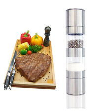 2 in 1 Stainless Steel Salt and Pepper Mill Grinder Muller Kitchen Hand Tool New