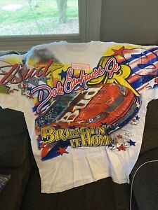 Vtg 2000 Dale Earnhardt Jr Budweiser Olympic Supporter Shirt All Over Print Sz L