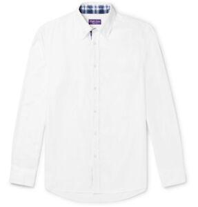 Ralph Lauren Purple Label Solid White Button Down Cotton Oxford Sport Shirt New