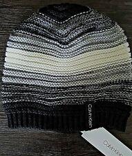 Calvin Klein Women's White Grey Black Beanie Med Knit Hat One size
