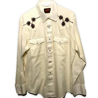 STIR-UPS Western Shirt Pearl Snaps Embroidered White Long Sleeve Sz Large