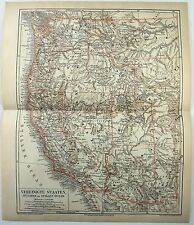 Original German 1878 Map of the Western USA. CA, NV, OR, WA, ID, UT, AZ