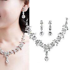 Rhinestone Set Drop Wedding Bride Jewelry Set Collier Necklace Ear Stud Earring
