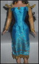 DRESS BARBIE DOTW SUMATRA INDONESIA BLUE SATIN GOLD SLEEVED GOWN CLOTHING ITEM