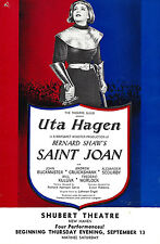 """Uta Hagen """"SAINT JOAN"""" Bernard Shaw / Frederic Worlock 1951 Tryout Flyer"""