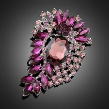 Statement Purple Rhinestone Brooch Vintage Inspired Antique Silver Large