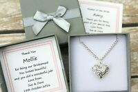 PERSONALISED BRIDESMAID THANK YOU GIFT KEEPSAKE SILVER FILIGREE HEART NECKLACE