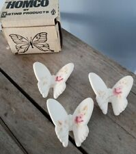Vintage Homco Butterflies, Hand-painted in Original Box Set of 3 Excellent