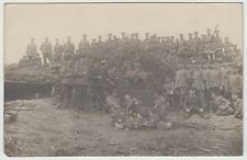 PC 1915 WWI Germany German Regiment Soldiers Posing with Bronze Statue Photo