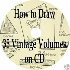 35 OLD BOOKS HOW TO DRAW CD Drawing & Sketching ANTIQUE ART BOOK COLLECTION