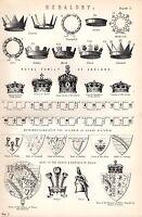 1880 Stampa ~Heraldry~ Corone Inc Royal Famiglia England Brisures Stemma Crest