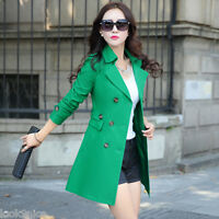 New Women's slim jackets double-breasted trench coat lapel parkas Windbreaker