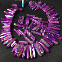 Purple titanium rainbow aura lemurian quartz crystal point 50g 8-12pcs H204