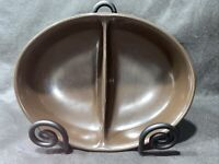 Vintage Franciscan Madeira USA Green Tan Divided Vegetable Serving Bowl Dish