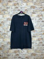 MENS VINTAGE RETRO NAVY BLUE TOMMY HILFIGER CREW SHORT SLEEVE T SHIRT SIZE LARGE