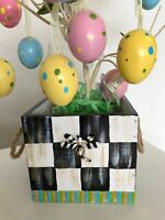 MY OWN HP Courtly Wood Flower Pot Planter Box - Dragonfly - Black & White Check