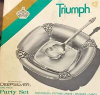 Vintage TRIUMPH International Deep SILVER Plate 2 Pc Party Set Spoon & Tray NIB
