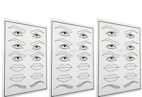 3 mal Augenbrauen/Lippen Übungshaut Practice Skin Microblading/Tatoo/Permanent