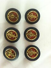 6 Nautical Anchor Navy , Red And  Gold  Button Set