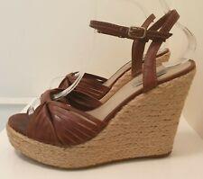 Dune Wedge Strappy Sandals Shoes Wedges Platform Heels Brown Leather UK 6 EU 39
