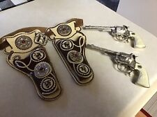 VINTAGE HUBLEY Toy  RODEO CAP GUN PISTOLS NICKEL FINISH With Holster