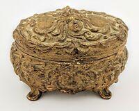Vintage Casket Jewelry Box with Angels Lady Faces Art Nouveau Coffin Trinket
