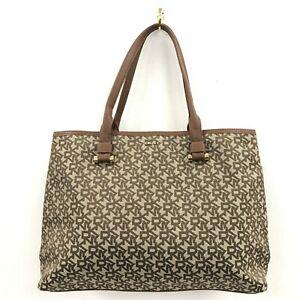 DKNY Bag Women's Brown Beige Textile Monogram Shopper Tote Handbag 481051