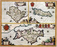 Van Der Hagen Map Anglesey Isle of Man Isle of Wight 17th c, Reprint 10x8 Inch