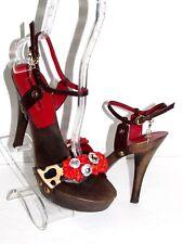 CESARE PACIOTTI Wooden Leather Swarovski Beads Ankle Platform Sandals SZ 38 NEW