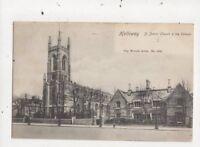 Holloway St Johns Church & Schools London 1908 Postcard 812a