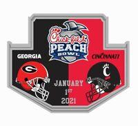 2021 PEACH BOWL GAME PIN GEORGIA BULLDOGS VS. CINCINNATI 2020 COLLEGE FOOTBALL
