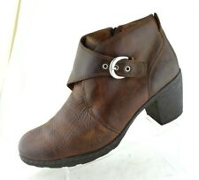 Born Boots Brown Leather Ankle Boots Heeled Booties Buckle Side Zip Womens 11