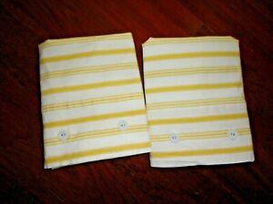 IKEA ALVINE RAND YELLOW & WHITE TICKING STRIPES (2) STANDARD PILLOW SHAMS 18X31