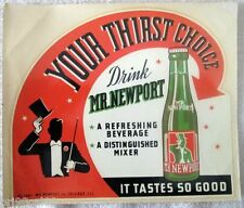 Drink Mr. Newport Your Thirst Choice window decal sign mint unused 1941