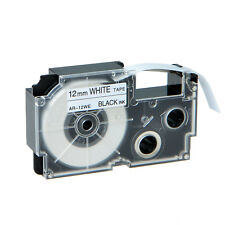 "1PK XR-12WE Black on White Label Tape for Casio KL-60 100 7000 8200 8800 1/2"""