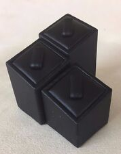 Set of 3 Ring Stands (Square Black) Jewellery Displays (3cm, 4cm & 5cm Height)