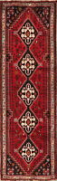 Excellent Geometric Vegetable Dye Red Runner Abadeh Tribal Hall-Way Wool Rug 3x9