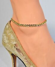 "Curb Chain Anklet Ankle Bracelet 9""-13"" 14Kt Gold Overlay Beautiful All Crystal"