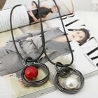 Fashion Circle Pearl Pendant Statement Long Chain Sweater Necklace Jewelry