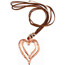 New jewelry style large rose gold double heart pendant brown suede long necklace