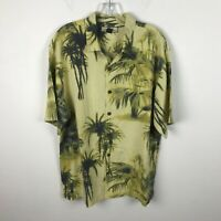 Tommy Bahama Shirt Size M Silk Yellow Green Tiger Palm Trees Hawaiian Aloha