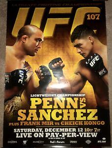 UFC 107 B.J. Penn vs. Diego Sanchez SIGNED AUTOGRAPHED 29x37 MMA Promo Poster