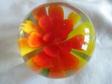 Vintage Glass Flower Paperweight - Orange Red Yellow & Green