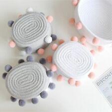 Woven Knit Decorative Basket with Pompoms Knit Woven Basket for Dresser Desk Top