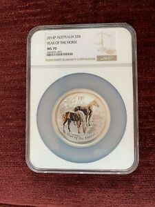 2014 P AUSTRALIA 5 oz. SILVER $8 YEAR OF THE HORSE NGC MS70