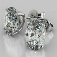 H VS2 Oval Cut Stud Earrings 3.00 Carat Total Weight 14k White Gold Christmas