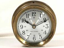 "Vintage Brass SETH THOMAS 5.5"" Ships Clock SEASPRITE Model E335-000 Made In USA"